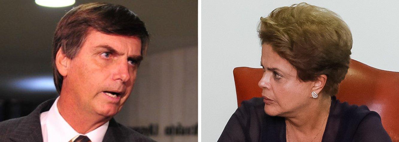 """Faltando apenas dois para as manifestações programadas contra o governo da presidente Dilma Rousseff, o deputado federal Jair Bolsonaro (PP-RJ) protocolou um pedido de impeachment da presidente na Câmara Federal; segundo ele, Dilma teria sido beneficiada pelos desvios verificados em casos de corrupção na Petrobras, além de ter cometido crimes contra a administração pública; """"Mais do que despreparo, mostra-se evidente a omissão da denunciada ao deixar de adotar medidas preventivas e repressivas para combater o câncer da corrupção em seu governo, mantendo, perto de si e em funções de alta relevância da administração federal, pessoas com fortes indícios de comprometimento ético e desvios de conduta"""", afirmou"""