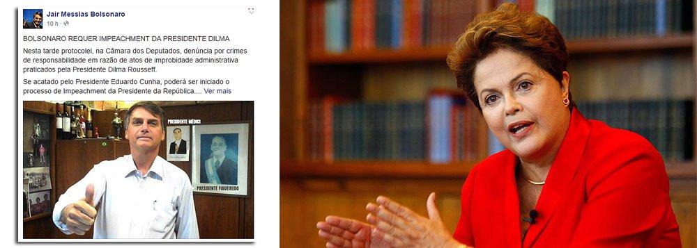 """Pelo Facebook, deputado Jair Bolsonaro (PP-RJ) anuncia ter protocolado pedido contra a presidente Dilma Rousseff; para chegar ao Congresso, ele deve ser aceito pelo presidente da Câmara, Eduardo Cunha (PMDB-RJ); """"Os fatos que levaram a cassação do ex-presidente Fernando Collor são bem menos graves e inconsistentes que os imputados à Sra. Dilma Rousseff"""", comentou o parlamentar"""