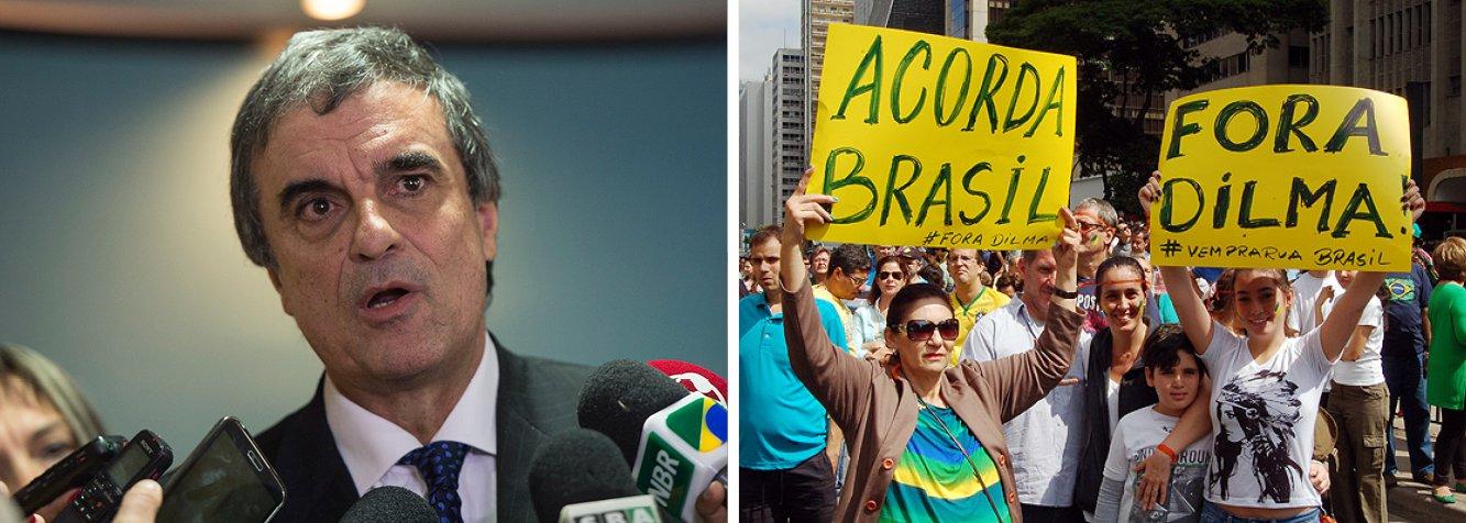"""O ministro da Justiça, José Eduardo Cardozo, pediu que as manifestações contra a presidente Dilma Rousseff programadas para o próximo domingo (15) não sejam uma """"ação de ódio""""; """"O governo tem essa tolerância com as pessoas que o criticam e gostaríamos muito que essas pessoas não fizessem uma ação de ódio, de raiva. Expressem suas ideias democraticamente, vamos nos tolerar"""", disse Cardozo"""