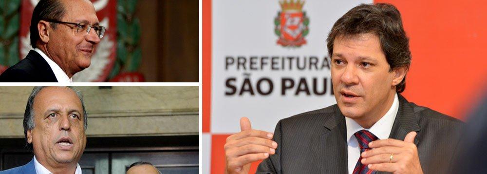 Prefeito Fernando Haddad (PT-SP) sugere aos governadores Geraldo Alckmin (PSDB-SP) e Luiz Fernando Pezão (PMDB-RJ) proposta em resposta à decisão do Supremo que obriga a quitação das dívidas em cinco anos; ideia é destinar no máximo 3% de receita de governos e prefeituras para pagar precatórios
