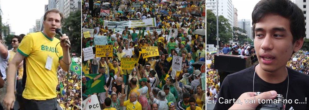 """Repórter Zé Antonio, da Carta Capital, foi alvo de agressão verbal por integrantes do Movimento Brasil Livre, que o provocou a discursar diante de uma massa que gritava: """"ei, Carta, vai tomar no c...""""; ele conta ter sido empurrado por um dos manifestantes em cima do carro de som e que um dos líderes do grupo o segurou pelos dois braços; """"No cercado ao lado do carro de som, muitas pessoas nos xingaram de 'sujos', 'vendidos' entre outras coisas. Tentamos sair pelo meio da Paulista com a 'escolta' do MBL, mas a hostilidade estava grande e recuamos"""", detalha o repórter; coordenador do movimento, o jovem Kim Kataguiri disse ao 247 que o movimento """"deu água"""" e """"protegeu"""" a equipe até chegar à redação"""