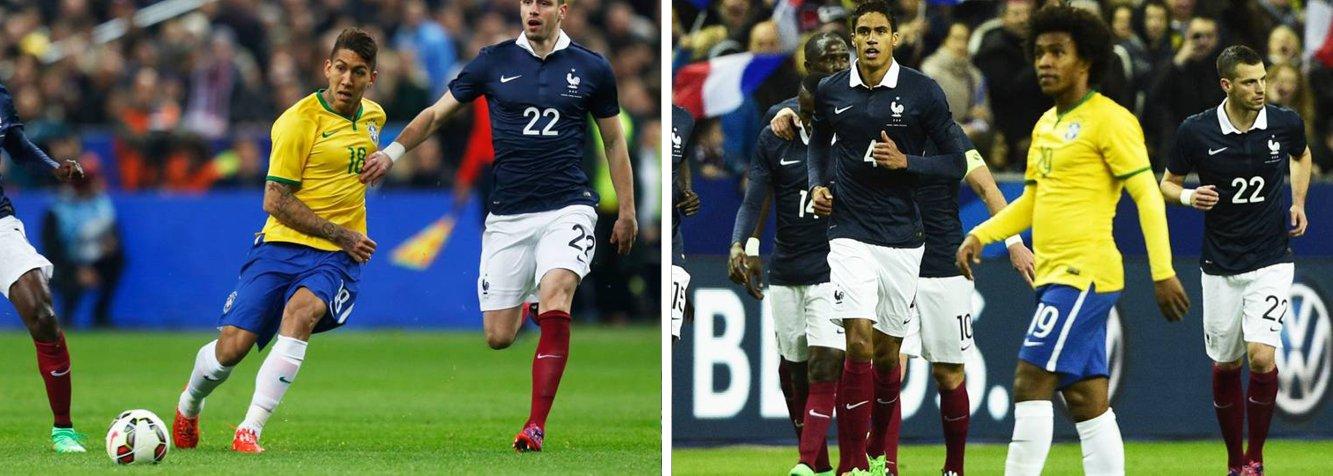 Com gols de Oscar, Neymar e Luiz Gustavo, a seleção brasileira derrotou a França por 3 a 1 no Stade de France; é a sétima vitória do treinador Dunga em sete partidas