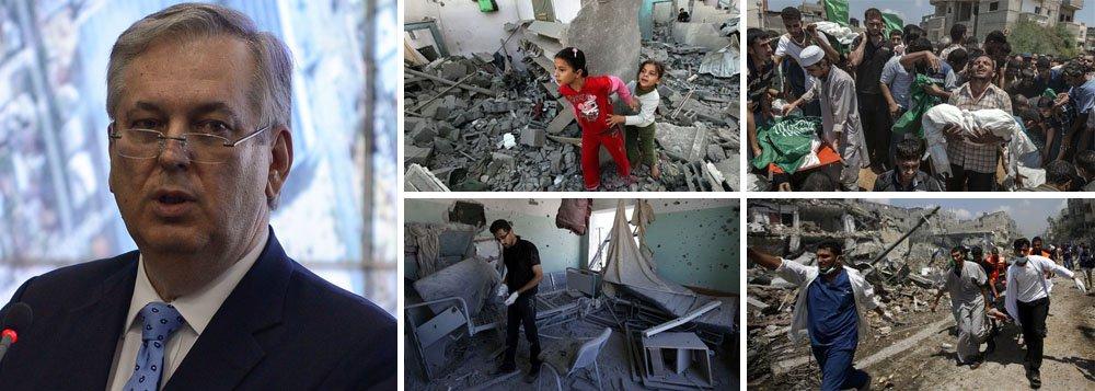 """Ministro Luiz Alberto Figueiredo rebate comentário feito pela chancelaria de Israel de que o Brasil é um """"anão diplomático""""; """"Somos um dos 11 países do mundo que têm relações diplomáticas com todos os membros da ONU e temos um histórico de cooperação pela paz e ação pela paz internacional. Se há algum anão diplomático, o Brasil não é um deles"""", afirmou; com o comentário, Israel rebatia gesto diplomático do Brasil contra ataques que já mataram 700 palestinos em Gaza, a maioria civis; nesta quinta-feira, disparo contra uma escola da ONU deixou 15 mortos, inclusive crianças; dentre elas, um bebê de um ano"""
