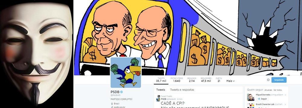 """No Twitter, grupo hacker colocou imagens e o logo do partido com desenhos que faziam alusão ao escândalo do trensalão, esquema de cartel no Metrô e na CPTM durante governos tucanos em São Paulo; """"O povo não esqueceu da roubalheira do metrô"""", escreveram, depois da conta invadida; foram haqueadas ainda as contas do partidono Facebook, no Youtube e no Instagram"""