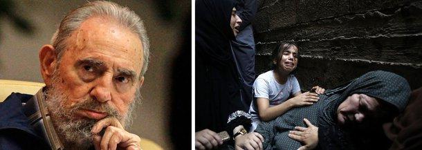 """""""O genocídio dos nazistas contra os judeus colheu o ódio de todos os povos da terra. Por que acredita o governo desse país que o mundo será insensível a este macabro genocídio que hoje está cometendo contra o povo palestino? Por acaso se espera que ignore quanto há de cumplicidade por parte do império norte-americano neste massacre desavergonhado?"""", questiona Fidel Castro, líder da Revolução Cubana"""