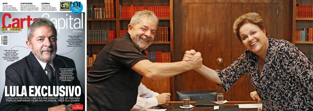 """Em entrevista à revista Carta Capital, ex-presidente enaltece presidente Dilma Rousseff, elogia presidenciável Eduardo Campos e cutuca tucano Aécio Neves como """"representante mais afinado com a elite""""; """"Estarei com Dilma no palanque onde ela quiser"""", disse Lula, de olho nos adversários: """"Conheço o Aécio, ele não tem a mesma firmeza ideológica do Eduardo, tem outros compromissos""""; quanto a si mesmo, apontou um caminho: """"Se em algum momento, tiver de voltar, posso (voltar) daqui a quatro anos""""; Lula não admite derrota de sua candidata e até escolhe o placar: """"A ganhar no primeiro turno por 51% a 49%, prefiro ganhar no segundo por 65% a 35%""""; seu partido levou uma dura: """"O PT começa a entrar na mesmice dos outros"""""""
