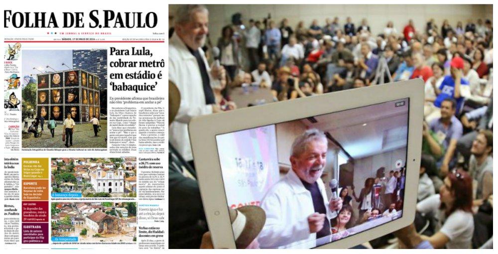"""Discurso do ex-presidente Lula no encontro nacional de blogueiros, em que ele discutiu a desconcentração dos meios de comunicação no Brasil, só serviu, na Folha, para que uma declaração fosse pinçada: a de que seria uma """"babaquice"""" querer """"chegar de metrô dentro do estádio""""; Lula disse ainda que o torcedor nunca teve problema em andar a pé; """"Vai a pé, descalço, de bicicleta, de jumento, de qualquer coisa. Mas o que a gente está preocupado é que tem que ter metrô, tem que ir até dentro do estádio? Que babaquice é essa?"""", questionou; pontos importantes do discurso, como a regulação da mídia, foram ignorados"""
