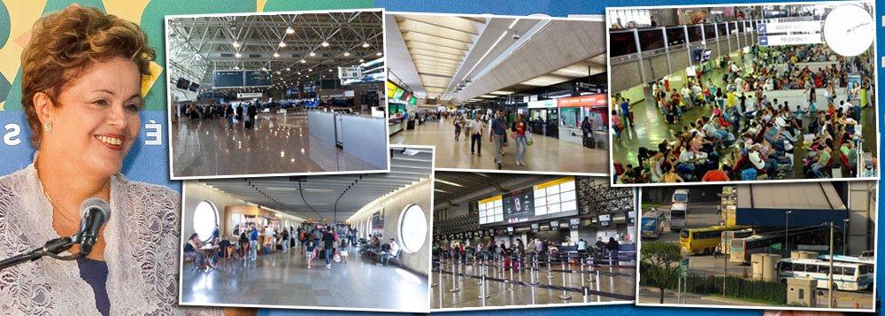 """Segundo dados oficiais da ATA, a associação internacional de transportes aéreos, País ficará atrás apenas dos Estados Unidos e da China em termos de passageiros domésticos dentro de dois anos; salto em dez anos no Brasil foi de 33 milhões de passageiros/ano para 113 milhões de passageiros em 2013; divisão entre ricos, nos aeroportos, e pobres, nas rodoviárias, acabou; """"Transformamos o aeroporto numa grande rodoviária porque não tem mal nenhum em rodoviária"""", comemorou a presidente Dilma Rousseff, ontem, ao inaugurar segundo terminal do Tom Jobim, no Rio de Janeiro; retrato de inclusão"""