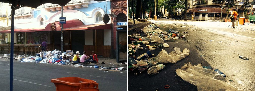 Centro do Rio de Janeiro continua tomado pelo lixo; Comlurb demitiu 300 garis que não compareceram ao trabalho; Categoria promete recorrer na Justiça