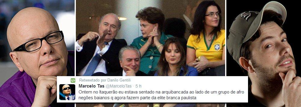Apresentadores de TV Marcelo Tas (do CQC, na Band) e Danilo Gentili (do The Noite, no SBT) foram os grandes propagadores de imagens e textos nas redes sociais sobre as vaias e ofensas que foram proferidas contra a presidente Dilma Rousseff (PT) na abertura da Copa do Mundo; no Twitter de Gentili, que possui quase 6 milhões de seguidores, sua principal postagem teve mais de 1,4 mil retweets e foi favoritada por 1,2 mil pessoas; no Facebook, vídeo postado por Tas, que tem3 milhões de fãs,foi compartilhado mais de 200 mil vezes teve 106 mil likes