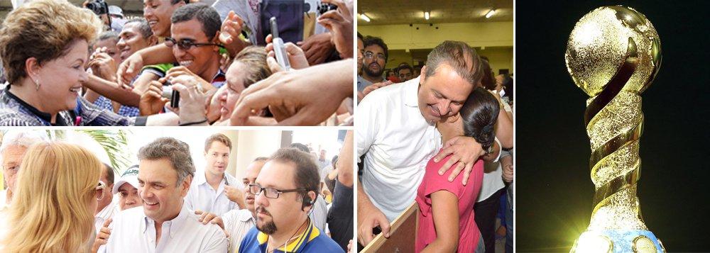 Pós-Páscoa, presidenciáveis têm todas as chances de avançar em suas estratégias; hoje, pesquisas mostram presidente Dilma Rousseff ganhando em primeiro turno; porém, será nos próximos 50 dias que levantamentos irão se assentar; presidenciáveis Aécio Neves (PSDB) e Eduardo Campos (PSB) executam seus planos de desgaste ao governo e consolidação de seus nomes; desafio da presidente é manter calado o surdo movimento 'volta, Lula ' e empolgar suas bases; hora da verdade chegou; até o pontapé inicial da Copa do Mundo, todos têm chances de crescer; depois do Mundial, o tempo será curto; quem vai vencer?