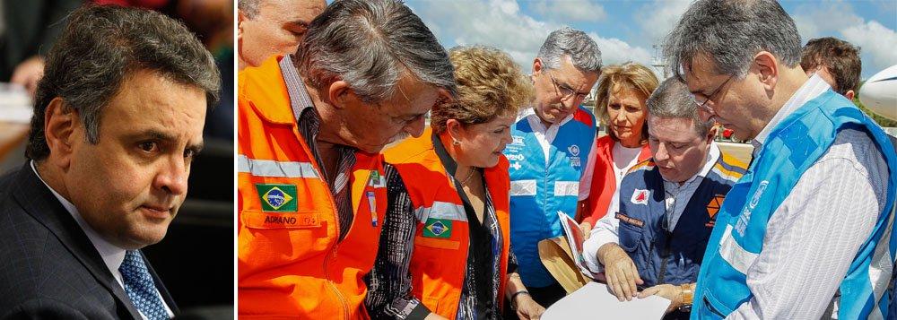"""Senador Aécio Neves (PSDB-MG) afirma que """"nenhum governo é responsável por desastres naturais, por chuvas ou enchentes que arrastam vidas e esperanças"""". No entanto, diz que """"são responsáveis pelo que fazem e deixam de fazer"""", em mais uma crítica à resposta ou às medidas de prevenção do governo federal relacionadas às enchentes em Minas, onde 10 mil pessoas estão desabrigadas"""