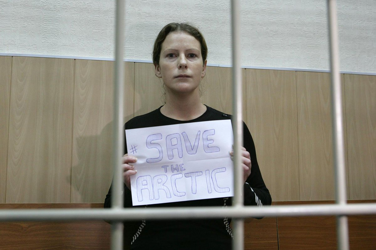 Bail hearing for Greenpeace International activist Ana Paula Alminhana Maciel (from Brazil) at the Regional Court of Murmansk. 