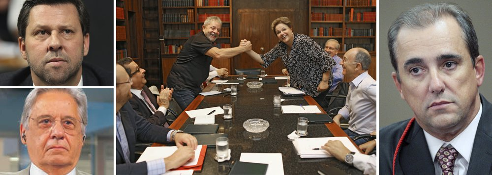 """Ministro do Tribunal Superior Eleitoral (TSE) Admar Gonzaga negou o pedido de liminar feito pelo PSDB, que queria proibir a presidente Dilma Rousseff de encontrar-se com correligionários no Palácio da Alvorada; deputado Carlos Sampaio (PSDB-SP) classificou como """"constrangedor"""" encontro de Dilma com o ex-presidente Lula;""""Em juízo preliminar, não verifico a presença dos pressupostos autorizadores para a concessão da medida pleiteada"""", afirmou o ministro; caso ainda será analisado pelo plenário do TSE; em artigo publicado hoje, FHC chamou a foto de Dilma e Lula de """"chocante"""" e """"esdrúxula"""""""