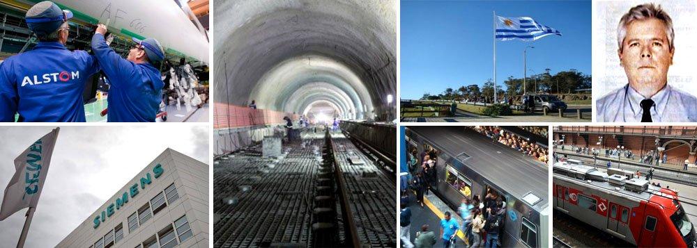 Polícia Federal e investigadores suíços acreditam que Alstom e Siemens usaram empresas fantasmas domiciliadas em Montevidéu para pagar propina a funcionários das estatais de trem e metrô de São Paulo; em um dos casos, a multinacional alemã cita supostas consultorias da Gantown e da Leraway, em abril de 2000, relativas à implantação da Linha 5 (Lilás) do Metrô; ex-diretor da multinacional Siemens Everton Rheinheimer afirma que houve suborno de 9% no contrato de R$ 1,57 bilhão