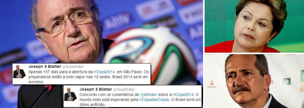 """Após levar troco do ministro Aldo Rebelo e da presidente Dilma Rousseff, presidente da Fifa volta atrás em declaração de que Brasil fará Copa desastrosa; """"Concordo com os comentários de @dilmabr sobre a #Copa2014. O mundo todo está esperando pela #CopadasCopas. O Brasil será um ótimo anfitrião"""", registrou Joseph Blatter no Twitter, horas depois de Dilma ter rebatido suas críticas sobre atraso histórico nas obras; cartola escreveu ainda que """"preparativos estão a todo vapor nas 12 sedes"""" e que """"Brasil 2014 será um sucesso"""""""
