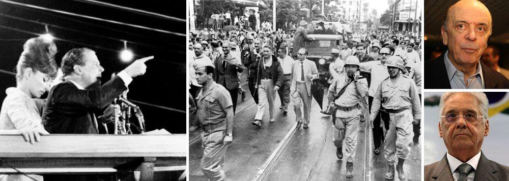 """Em artigo exclusivo para o 247, o jornalista Breno Altman desmistifica a tese de que os militares derrubaram João Goulart, há 50 anos, porque a esquerda planejava implantar um regime totalitário no País; """"O que ocorreu naquele primeiro de abril foi a vitória de uma mentira que disfarçava um plano. A função dos meios de comunicação, à época, era agigantar esse boneco, para justificar que as tropas tomassem as ruas"""", diz ele; """"O mais curioso são as pontes erguidas por Fernando Henrique Cardoso e José Serra, vítimas e adversários do golpe, em direção à teoria da dualidade demoníaca, provavelmente no intuito de manter os atuais laços entre a nova e a velha direita"""", afirma; íntegra"""
