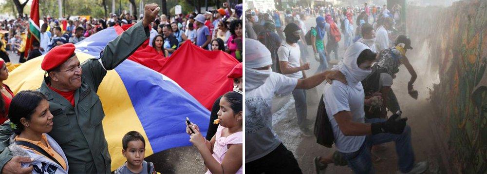 """Com a presença de chefes de Estado, o presidente Nicolas Maduro abriu dia de homenagens a Hugo Chávez, nesta quarta (5), afirmandoque a situação no país está sob controle, apesar das ameaças de alguns setores da oposição de """"trancar o país""""; mas em bairros da capital, Caracas, dominados por opositores de Maduro, além das marchas de protestos, foram feitos bloqueios em algumas vias de acesso; sob forte vigilância militar, os manifestantes levavam cartazes com frases sobre liberdade, pedidos de melhores condições de saúde e justiça"""