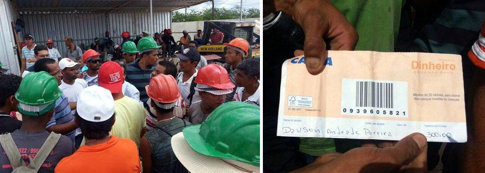 100 trabalhadores de uma obra do governo de Alagoas, em Maceió, realizaram protesto para cobrar salários atrasados e melhores condições de trabalho. Eles fecharam a principal via do bairro do Benedito Bentes onde está sendo construídoum Complexo Educacional e Esportivo