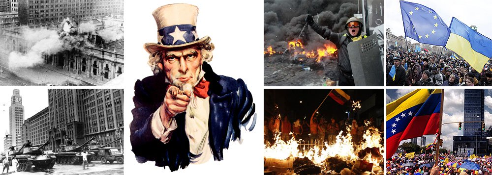 Nas décadas de 60 e 70, os Estados Unidos derrubavam governos democraticamente eleitos alegando razões geopolíticas: era preciso deter o avanço soviético; hoje, o modelo é mais sofisticado; envolve protestos de ruas, campanhas nas mídias sociais e atentados contra civis, para que os governos sejam responsabilizados pelas mortes de seus próprios cidadãos; foi o que aconteceu na Ucrânia, onde atiradores ligados às forças que hoje estão no poder alvejaram civis; na Venezuela, roteiro é o mesmo e vice-presidente americano Joe Biden deu a senha para o golpe; melhor ficar em estado de alerta