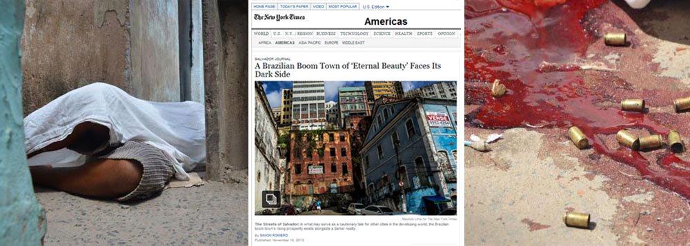 """Depois de ganhar o noticiário nacional, Salvador é destaque no jornal norte-americano The New York Times como """"capital dos homicídios""""; """"Salvador agora tem mais homicídios por ano do que qualquer outra metrópole brasileira, incluindo a megalópole São Paulo, que é quatro vezes maior""""; para justificar o título, o diário cita crimes que ganharam destaque, como o corpo de um traficante encontrado decapitado, uma turista adolescente que morreu vítima de bala perdida e um italiano que foi espancado em um hotel na Barra em 2010"""