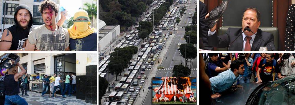 Partido que lidera protestos contra composição da CPI dos Ônibus faz de tudo; da claque legítima nas galerias, como em jogo de futebol, à inspiração para arremessos de sapatênis, cusparadas, xingamentos, cadeiradas, pernadas, chutes, acampamento, ocupação da Câmara dos Vereadores e fechamento da Avenida Rio Branco; é que se tem dos últimos 15 dias; tiro ainda não saiu; ontem, quando o secretário municipal de Transportes estava escalado para falar – e civilizadamente qualquer tipo de pergunta poderia ser feita --, show de ridicularias interditou o debate; partido pede intervenção do Poder Judiciário sobre o Legislativo e tem sucesso; palmas!