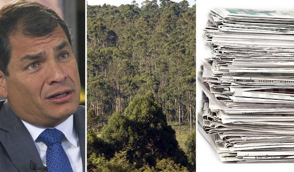 """O presidente do Equador, Rafael Correa, anunciou no Twitter que pretende fazer uma consulta popular no país sobre a eliminação dos jornais diários impressos para evitar a derrubada de árvores; ele fez a provocação ao ser questionado pela mídia local sobre o projeto de uma jazida petrolífera;""""agora os maiores ecologistas são os diários mercantilistas"""", ironizou"""