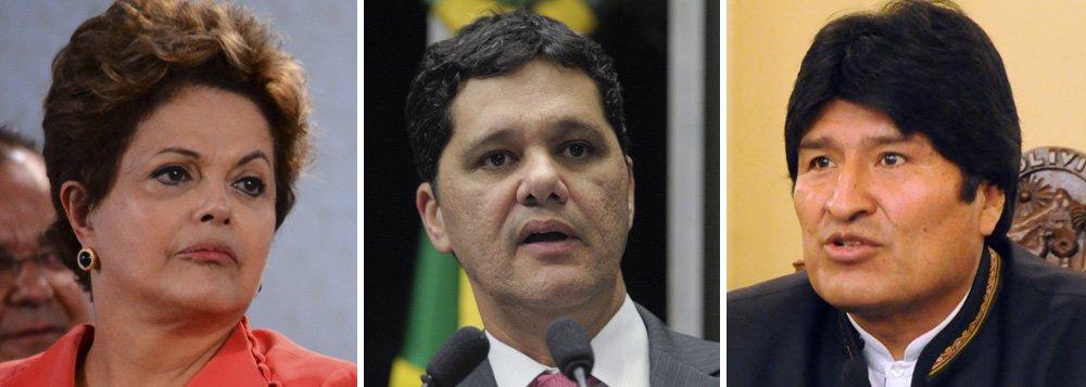 """Presidente da Comissão de Relações Exteriores do Senado, Ricardo Ferraço (PMDB-ES) ultrapassou todas as regras de convivência entre dois países amigos e vizinhos; ele cumpriu papel decisivo na fuga do senador Roger Pinto Molina, investigado por corrupção e narcotráfico na Bolívia, e se gabou de ser um """"crítico da falta de determinação da diplomacia brasileira""""; ao apoiar um fugitivo internacional, ironizou que o governo brasileiro é """"às vezes muito companheiro dos nosso vizinhos bolivarianos""""; se o exemplo frutificar, onde irão parar a legislação e os acordos internacionais?; criada mais uma saia justa para a presidente Dilma"""