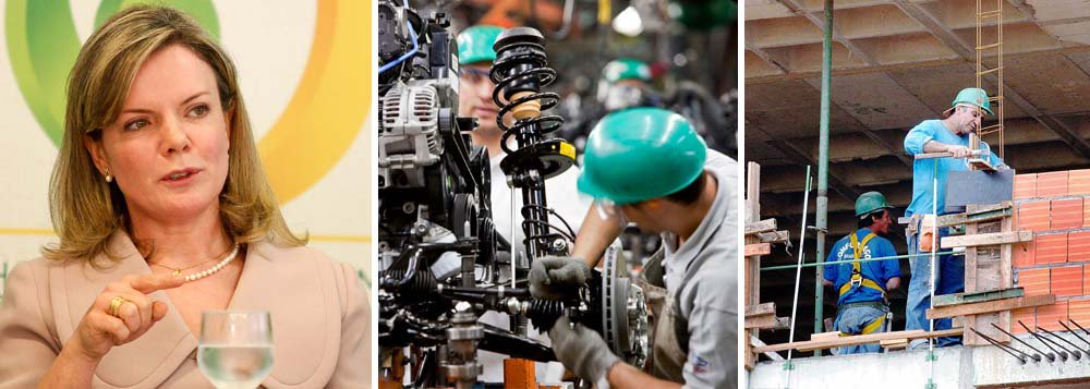 """""""Nós temos 40.454.000 empregos. É o maior estoque de empregos dos últimos dez anos.Isso é importante falar, para que não prevaleça uma ideia muito pessimista de que nós estamos com uma situação de desemprego. Muito pelo contrário"""", ressaltou a ministra da Casa Civil, ao comentar a queda no ritmo de criação de empregos, conforme o Ministério do Trabalho; segundo explicou Gleisi Hoffmann, """"nós temos um crescimento menor das vagas de emprego em razão também do grande aumento de estoque de emprego que tivemos nos últimos anos"""""""