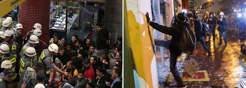 """Cerca de mil pessoas teriam participado do quinto ato Se Não Tiver Direitos, Não Vai Ter Copa; na Avenida Vital Brasil, a PM registrou a depredação de duas agências bancárias e 54 pessoas foram detidas """"por promoverem a desordem""""; cerca de 800 homens foram mobilizados em função da passeata"""
