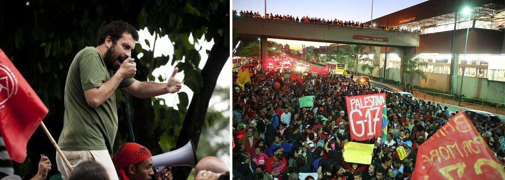 """Na noite de ontem, cerca de 12 mil pessoas do Movimento dos Trabalhadores Sem Teto (MTST) percorreram a Avenida Radial Leste até o Itaquerão, onde ocorrerá a abertura da Copa do Mundo, no próximo dia 12; """"Se até sexta-feira (6) não tivermos resposta para nossas reivindicações, não sei se a torcida vai conseguir chegar ao Morumbi"""", disse o coordenador do MTST, Guilherme Boulos sobre o amistoso entre Brasil e Sérvia; entre as demandas está a desapropriação da área da ocupação Copa do Povo e a aprovação do plano diretor pela Câmara Municipal de São Paulo"""