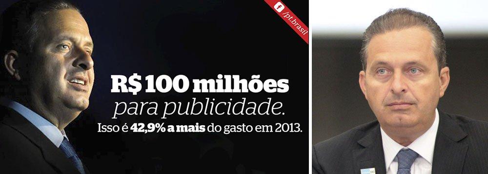 """O Partido dos Trabalhadores criticou, pelo Facebook, a verba de R$ 100 milhões que será usada em publicidade pelo Governo de Pernambuco em 2014, ano em que o governador do Estado, Eduardo Campos (PSB), concorrerá à Presidência da República nas eleições majoritárias de outubro; na postagem, intitulada de """"O Milagre da Muliplicação"""", o partido, que pretende reeleger a presidente Dilma Rousseff (PT), destaca que a verba disponibilizada para este exercício é 42,9% maior do que o montante gasto em 2013"""