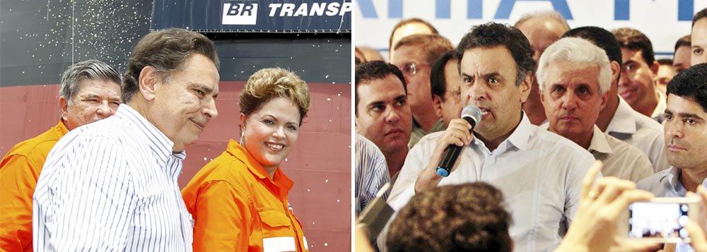 """Pré-campanha presidencial ganha clima de guerra; horas depois de a presidente Dilma Rousseff dizer que não aceitaria ataques à estatal, o senador tucano bateu duro e mirou a própria mandatária: """"Está na hora de a presidente da República devolver limpo o macacão dos funcionários da empresa. Quem está sujando a imagem da Petrobras é o PT, que estabeleceu o aparelhamento através da irresponsabilidade, que resulta na prisão de diretores em operações da Polícia Federal""""; presidenciável do PSDB disse ainda que Dilma deve desculpasaos brasileiros"""