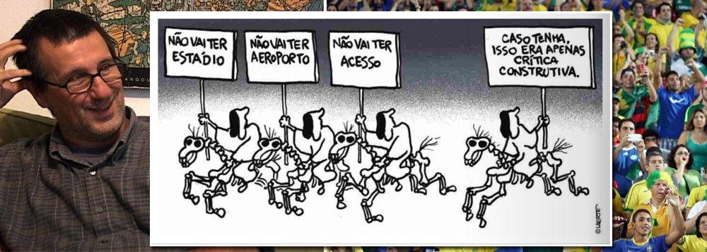 """""""Não vai ter estádio"""". """"Não vai ter aeroporto"""". """"Não vai ter acesso"""". """"Caso tenha, isso era apenas uma crítica construtiva"""". Charge do cartunista Laerte, publicada hoje na Folha de S. Paulo, é uma obra-prima que resume a canoa furada na qual os principais grupos de mídia do País embarcaram antes da Copa. Sondagem realizada ontem com jornalistas do mundo inteiro confirmou: esta é a #copadascopas"""