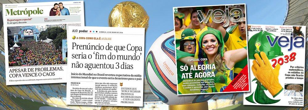"""Neste fim de semana, Estado de S. Paulo, Folha e até Veja reconhecem o erro dos que previram caos durante o Mundial de 2014; na Folha, """"prenúncio de que Copa seria o 'fim do mundo' não aguentou 3 dias""""; no Estado, """"apesar de problemas, Copa vence o caos""""; em Veja, a mesma que previa que os estádios ficariam prontos apenas em 2038, """"Só alegria até agora""""; será que você foi enganado pelos arautos do """"Imagina na Copa""""?"""
