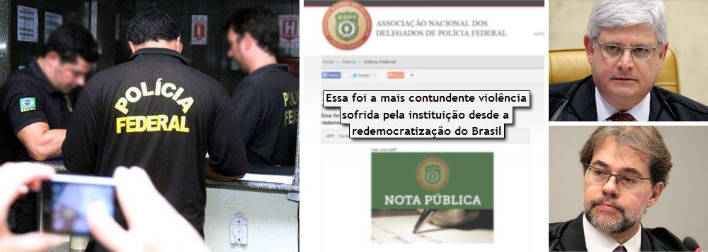 """Nota que critica o procurador-geral da República, Rodrigo Janot, foi divulgada nesta quarta-feira pela Associação Nacional dos Delegados da Polícia Federal (ADPF); manifestação acontece após pedido da Procuradoria-Geral da República para que a corporação não divulgasse qualquer nota ou informação sobre a Operação Ararath, no Mato Grosso; entidade afirma que o """"fato, considerado inédito, causou grande perplexidade e indignação entre os Delegados da Polícia Federal""""; para a ADPF, """"essa foi a mais contundente violência sofrida pela instituição desde a redemocratização do Brasil"""""""
