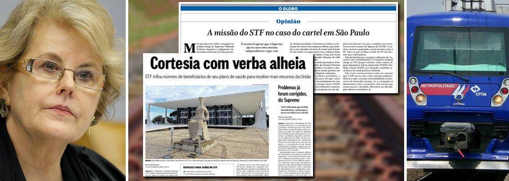 """A reportagem mais importante do fim de semana foi publicada pelo jornal O Globo, que apontou que o Supremo Tribunal Federal, ao inflar os beneficiários de seu plano de saúde, recebeu R$ 16,8 milhões a mais do que deveria da União; o STF-Med tem no comando de seu conselho a ministra Rosa Weber, a mesma que decidirá se três secretários do governo de Geraldo Alckmin serão réus no STF no inquérito que apura as propinas da Alstom e da Siemens; na mesma edição, o Globo publicou o editorial """"A missão do STF no caso do cartel em São Paulo"""", onde diz que """"a folha corrida do PT em dossiês não é abonadora""""; será esse mais um exemplo de faca no pescoço do STF?"""