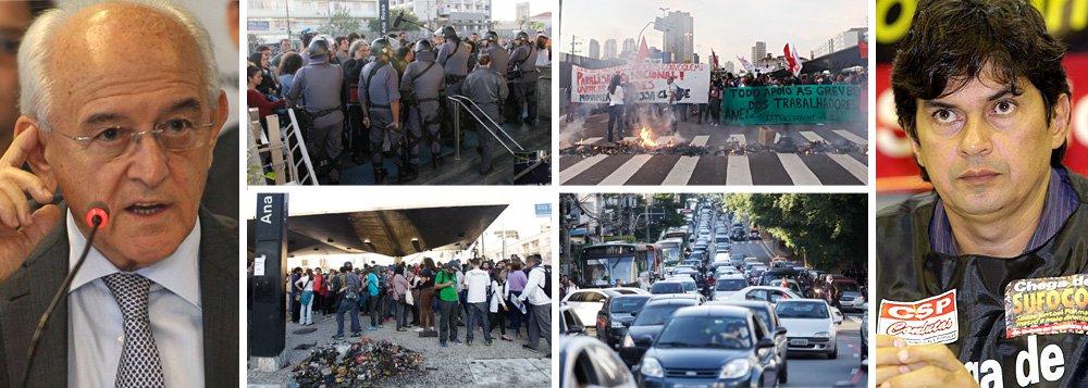 """Ministro do Trabalho diz que """"também há interesses eleitorais"""" na paralisação que já dura cinco dias no metrô de São Paulo; para Manoel Dias, a Copa do Mundo e as eleições presidenciais são um """"estímulo"""" às paralisações; """"É uma oportunidade... um poder de pressão"""", disse; para ele, """"há excessos neste período, há abuso""""; Dias defende que, como na Europa, greve precisar ter """"horário, local e tem que respeitar o ir e vir dos demais""""; questionado se a greve dos metroviários paulistas tem fins eleitorais, ministro respondeu: """"Há também interesses eleitorais"""";presidente do sindicato da categoria, Altino Melo dos Prazeres, e diretores são ligados ao PSTU"""