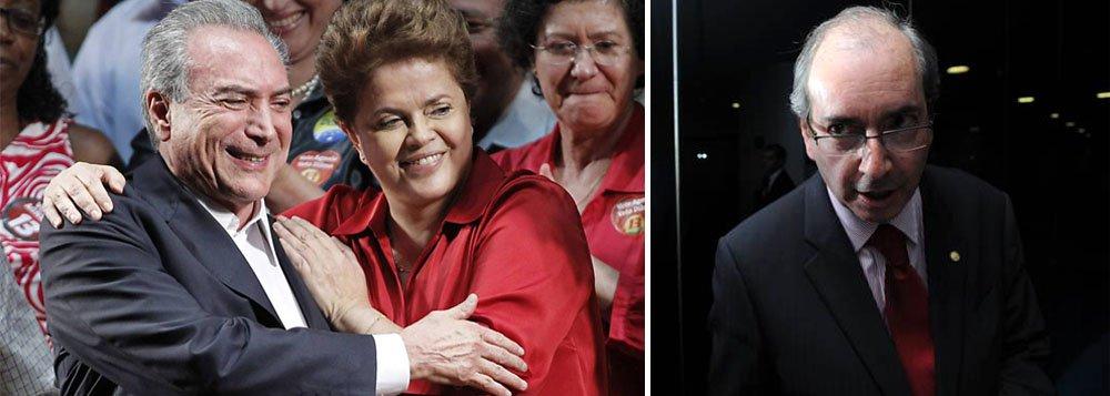 Após encontro com o vice-presidente, sem a presença de caciques do PMDB, presidente avisa que pretende nomear ministros nos próximos dias mesmo sem o aval da legenda; Temer, por sua vez, defendeu o 'casamento com o PT' e diz que apenas a convenção nacional decidirá futuro de peemedebistas, em referência indireta a Eduardo Cunha; líder do partido na Câmara chegou a ameaçar rompimento da aliança; nesta manhã, Dilma vai receber grupos separados do partido, do Senado e da Câmara, para tentar desarmar pressão sobre o governo