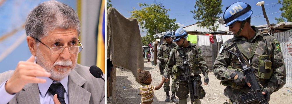 """Em entrevista, ministro da Defesa afirma que saída das tropas brasileiras está """"prevista no horizonte"""";""""Não pensamos em uma saída irresponsável, e nem se pode dizer que já há uma data marcada para isso. Mas a saída está prevista em nosso horizonte"""""""