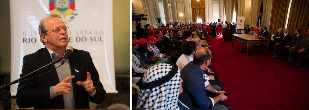 """Evento contou com a presença do embaixador palestino no Brasil, Ibrahim Alzeben, do coordenador Geral de Ações Internacionais de Combate à Fome do Itamaraty, ministro Milton Rondó Filho, além de representantes da comunidade árabe-palestina; """"É necessário que uma campanha como essa seja seguida de uma política de paz. O povo gaúcho tem tradição de luta, de respeito à autodeterminação de comunidades que lutam por seus direitos"""", disse o governador Tarso Genro"""