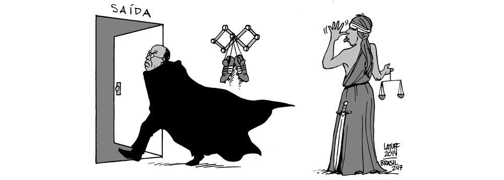 Chargista Carlos Latuff retrata em sua nova ilustração o anúncio feito nesta quinta (29) pelo presidente do Supremo Tribunal Federal (STF), ministro Joaquim Barbosa, de que se aposentará em junho