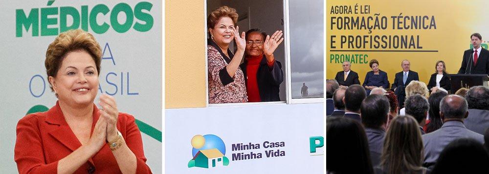 """É o que revelou pesquisa qualitativa realizada pelo Planalto sobre as ações do governo que mais geram identificação com a presidente Dilma Rousseff; não sem razão, o programa Mais Médicos foi o mais lembrado; o Minha Casa, Minha Vida, que já contratou 3,7 milhões de casas, apareceu em segundo lugar, mesmo tendo sido criado pelo ex-presidente Lula; o Pronatec, voltado para a formação técnica profissional, sobre o qual Dilma disse estar """"fissurada"""", aparece em terceiro; demais ações do governo nos últimos 15 anos, mesmo as de FHC, a população reconhece como sendo de Lula"""