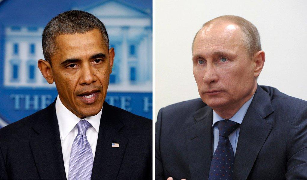 """Depois de um telefonema de uma hora, o presidente russo disse em um comunicado que Moscou e Washington ainda estavam distantes de um acordo sobre a situação na Ucrânia; """"A Rússia não pode ignorar pedidos de ajuda e age consequentemente, em plena conformidade com o direito internacional"""", disse Vladimir Putin; parlamento da Crimeia, onde vive população de maioria russa, aprovou anexação ao país de Putin"""