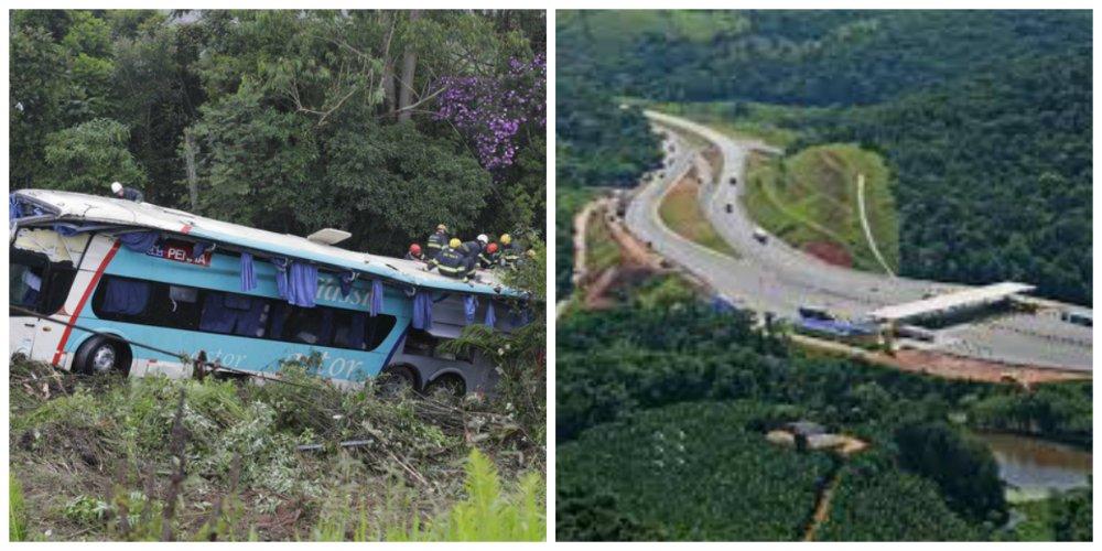 Veículo com 50 passageiros da Viação Penha saiu da pista em São Lourenço da Serra, no km 300 da rodovia Régis Bittencourt, e caiu em ribanceira, por volta das 2h30