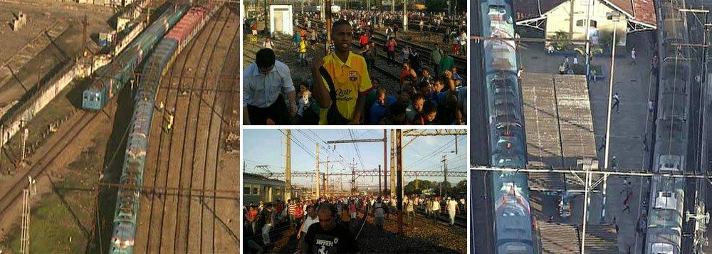 Composição seguia de Japeri, na Baixada Fluminense, para a Central do Brasil, no centro da cidade, quando saiu dos trilhos próximo à estação de Deodoro, por volta das 6h30; agentes da empresa foram ao local para ajudar no deslocamento dos passageiros até a plataforma