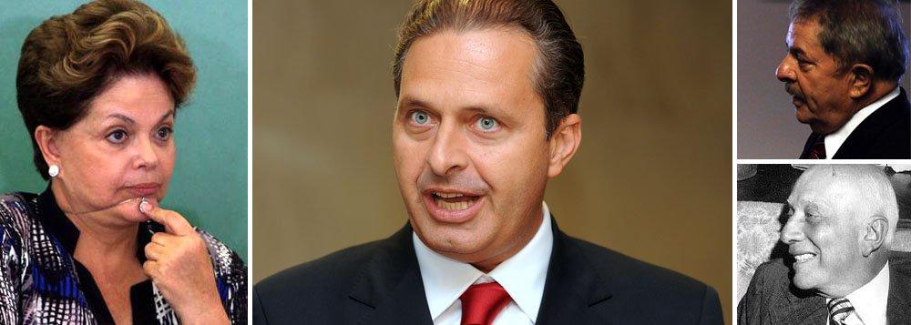 """Presidenciável Eduardo Campos faz seu alvo: ora mandando recado para a presidente Dilma Rousseff, que estaria """"de aviso prévio"""", ora garantindo que """"os brasileiros não aguentam mais""""; ele está partindo para o ataque a ela, agora interessado em atrair Dilma para debates na televisão; estratégia é compreensível para quem quer demarcar um espaço nítido de oposição ao governo; antigo aliado do PT, porém, chefe do PSB pode estar avançando rápido demais; a seguir nesse tom, o que ele estará dizendo às vésperas da eleição de outubro?; ex-presidente Lula disse a amigos que ainda dará """"uns cascudos"""" em Campos, de quem gosta muito; no passado, Dr. Ulysses Guimarães ensinava: """"Em política, não se deve dizer frases definitivas""""; ainda vale?"""