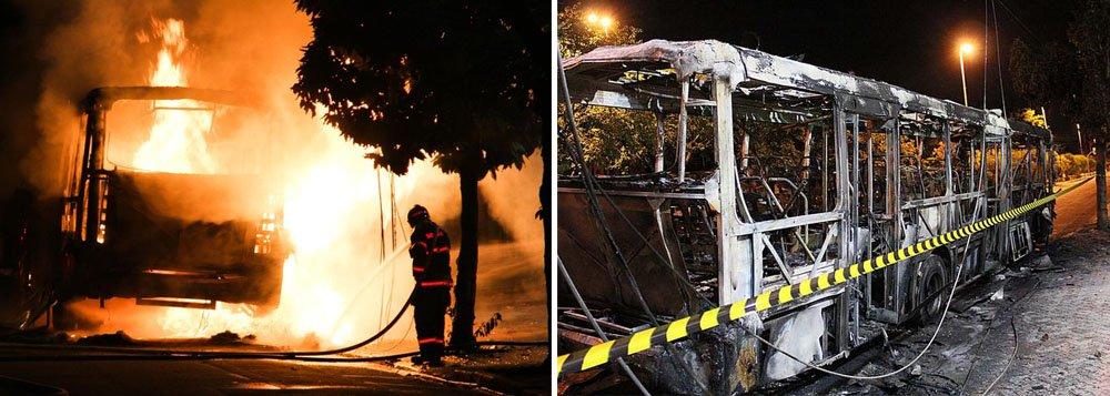 Criminosos incendiaram mais um ônibus na cidade de Guarulhos, na Grande São Paulo, na Avenida Onze de Agosto, no Jardim Zaira; na terça-feira, cerca de dez a 15 motociclistas agrediram um motorista e depredaram um coletivo também na cidade