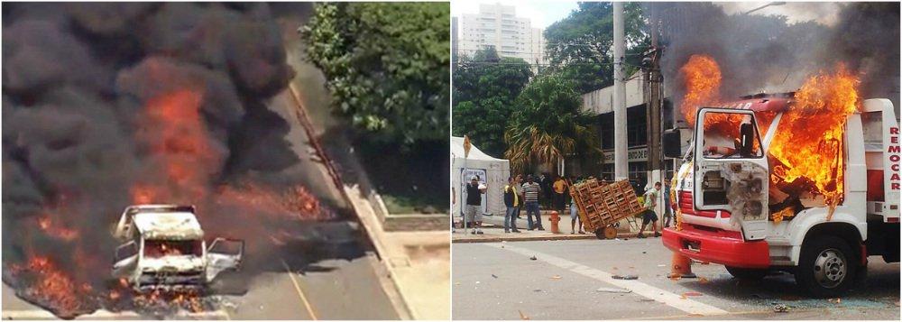Caminhoneiros protestam contra cobrança de estacionamento naCompanhia de Entreposto e Armazéns Gerais de São Paulo; às 12h,eles colocaram fogo na sede da fiscalização da Ceagesp; mais cedo, já haviam quebrado cabines, montado barricadas e depredado carros; Tropa de Choque entrou no local e controlou os vândalos; bombeiros controlaram fogo em prédios