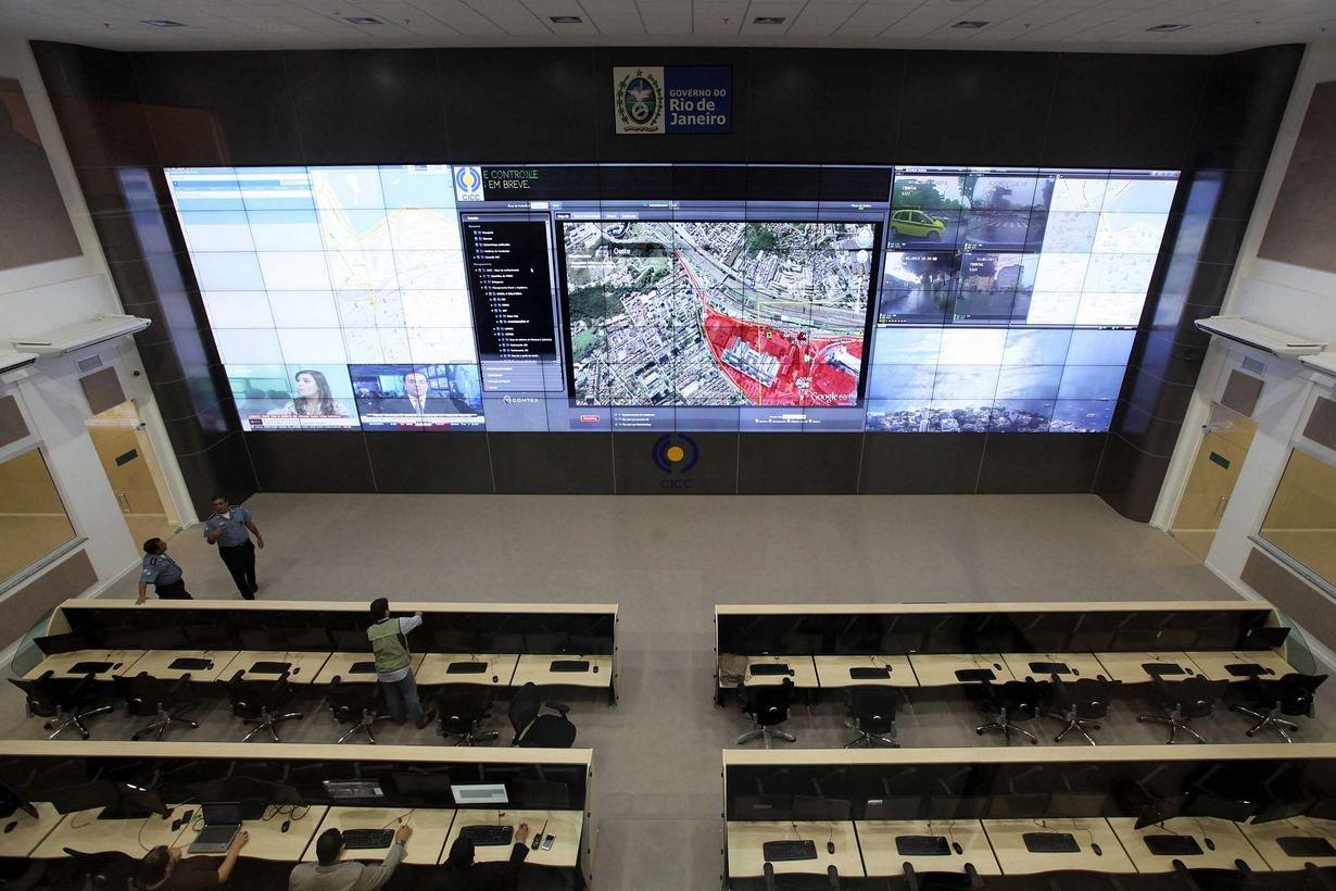 31/05/2013 - Inauguração do Centro Integrado de Comando e Controle. Videowall. Foto Marcelo Horn